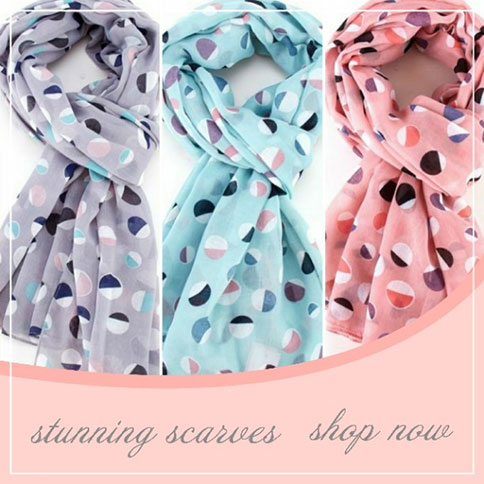 Ladies scarves, patterned and plain in various colours