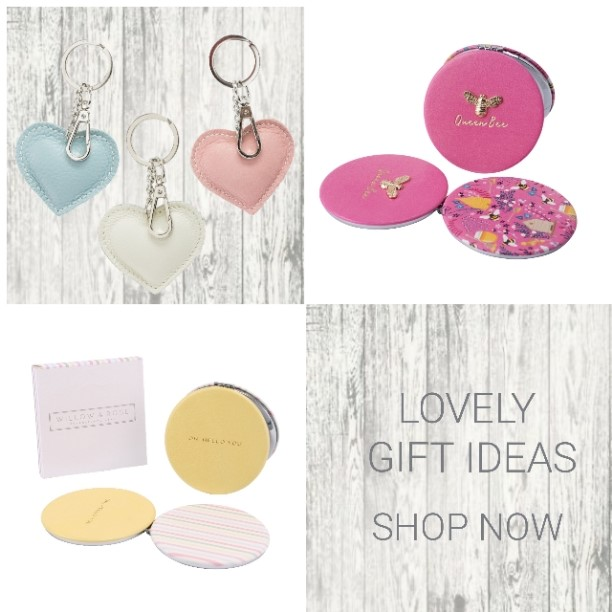 Gifts, compact mirrors, handmade gifts, key rings and more